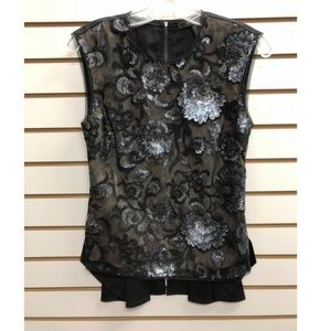 BCBGMAXAZRIA Embellished Black Top Blouse XS
